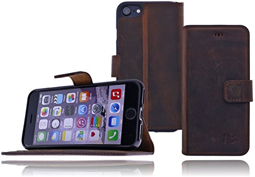 Burkley Apple iPhone 8 / iPhone 7 Hülle | Tasche | Lederhülle | Handyhülle | Ledertasche | Handytasche | Schutzhülle | Flip Cover | Book Case | bruchfester Innenschale | Kartenfach (Sattel Braun) Kaffee Braun