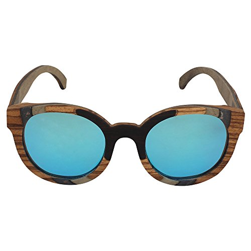 Caprio Blue & Brown Wooden Frame Oval Sunglasses For Women