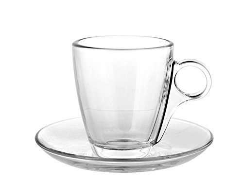 Pasabahce cherie servizio tazze caffè con piatto, vetro, trasparente, 6 pezzi