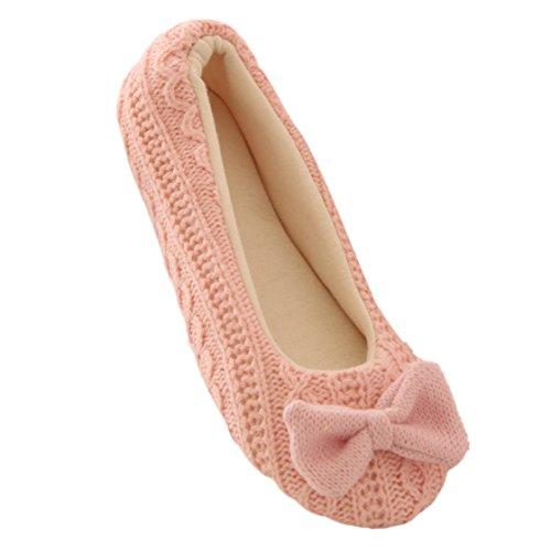 Vovotrade® Ladies Home Stockwerk Weiche Innen-Hausschuhe Outsole Baumwolle Gepolsterte Bowknot Weiblich Cashmere Warm Yoga-Schuhe (EU Size:37-38, Rosa)