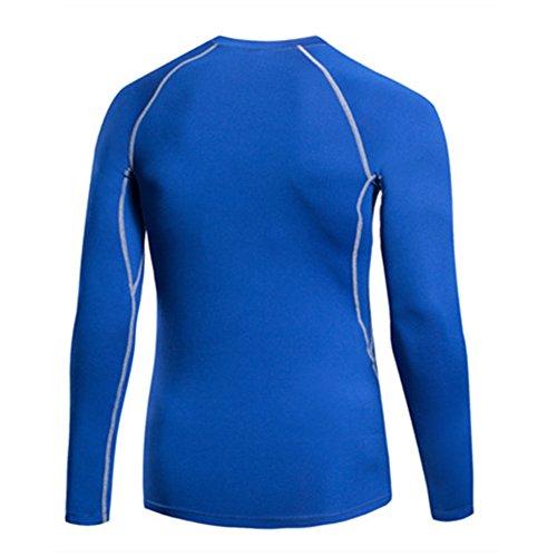 Herren Jungen Compression Gym Bodybuilding Fitness Grundschicht Thermal Unter Top Langarmshirts Skins Gear Cool Dry Tops 6 Farben Blue