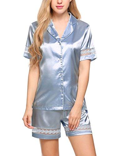 low priced d2378 a2106 ᐅ lI❶Il Ekouaer Damen Pyjama Set Satin Schlafanzug Kurz ...