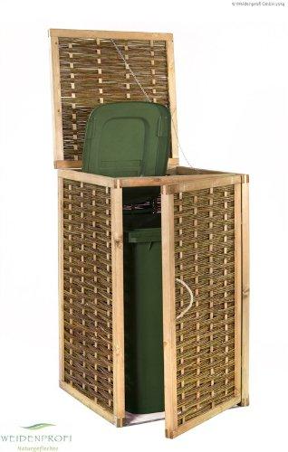 Mülltonnenverkleidung WEIDENPROFI aus Holz mit Weidengeflecht für eine Mülltonne bis 240 Liter - 2