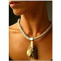 Halsreif aus Leinen 55cm, Linen chain, versilberte Verschlüse, silver plated