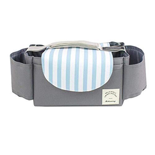 Imagen para Gtrip - Bolsa de almacenamiento para cochecito de bebé, organizador de pañales, bolsa de pañales, soporte para botella para cochecito, con velcro, impermeable, universal azul azul