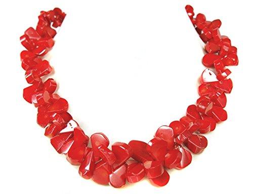 Halskette aus Koralle in abgeflachte Tropfen geschliffen L-48cm