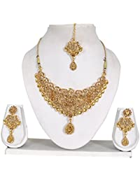 Vipin Store Golden Color Kundan And Stone Gold Plated Jewelery Set