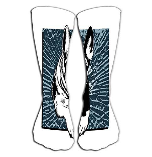 "Nifdhkw Outdoor Sports Men Women High Socks Stocking German Shepherd Breaking Glass Tile Length 19.7\""(50cm)"