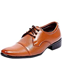 SAIJARA Men's Dotted Black/Brown Formal/Official/Formal Shoes