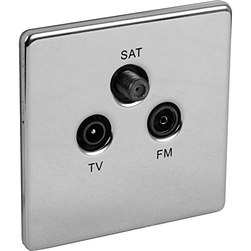 Preisvergleich Produktbild Screwless Flat Plate Polished Chrome Triplexer TV, FM, SAT Socket by Generic