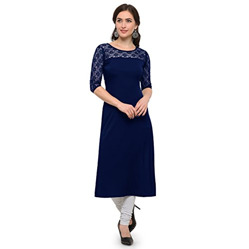 Fashion2wear Women's Crepe Round Neck Kurti (Navy Blue_XL)