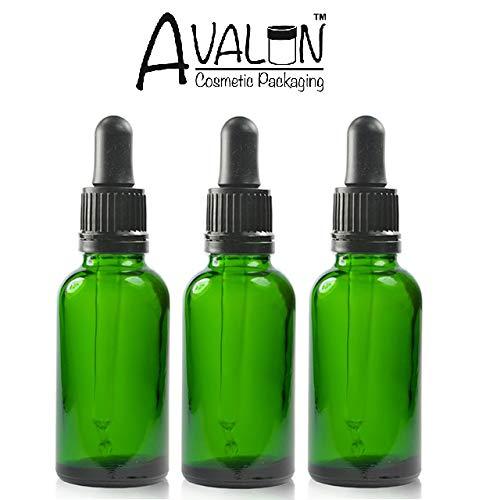Bernstein-essenz-Öle (Drei grün Glas Flasche (50ml) mit Pipetten. Geeignet für Aromatherapie, Kunst, Handwerk, Erste Hilfe, Bart Öl, Seren, Duftöle etc.)