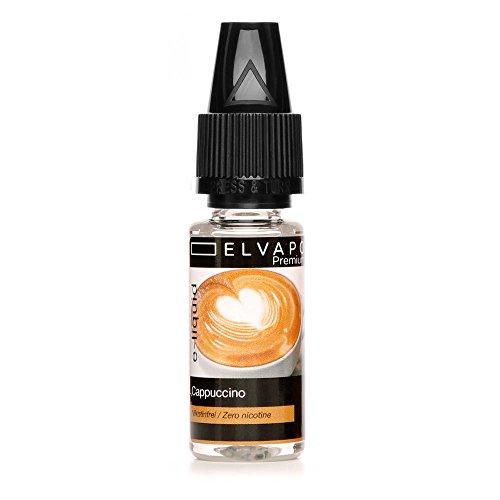 Elvapo Premium E-LIQUID Cappuccino Flasche mit extra schmalem Tropfaufsatz, 10 ml
