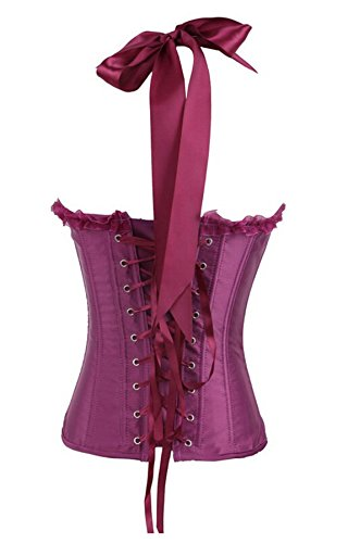 Women's Victorian Sweetheart Satin Bow-Knot Overbust Corset Bustier Basque Top Purple