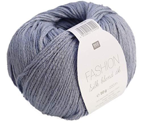 Rico Fashion Silk blend dk Fb. 016 Mattes blau, edles Garn aus Seide & Baumwolle zum Stricken & Häkeln, Wolle mit Seide zum Stricken (Häkeln Silk)