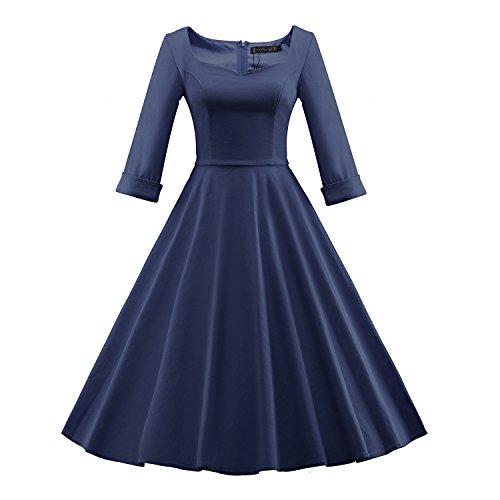 iLover 40s 50s 60s robe manches 3/4 de danse partie de bal rockabilly millésime W709EU-NavyBlue