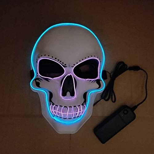 Kostüm Batman Kind Face Two - WSCOLL Halloween LED Maske Glowing In Dark Mask Skeleton Halloween Maske Vollgesichtsrolle Dress Up Cosplay Maske für DJ Party Two Farben