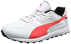 Puma Mens Team Rubber White-Fiery Coral Black Cricket Shoes-8.5 UK/India (42.5 EU)(4057827787979)