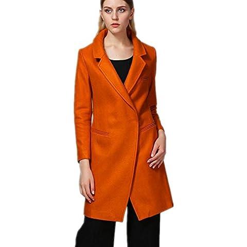 ZZHH Mujeres en la larga sección Slim Fit abrigo abrigos . orange . l