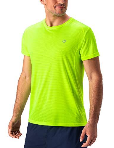 NAVISKIN Herren Kurzarm Laufshirt atmungsaktiv Funktionsshirt Ultraleicht T-Shirt Gelb Größe M