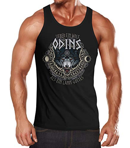 MoonWorks Herren Tanktop Lieber EIN Wolf Odins als EIN Lamm Gotte Muskelshirt Tank Top Muscle Shirt Achselshirt schwarz M (Herren Top Wolf Tank)
