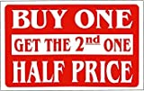 Vivityobert Panneau de Vente en Aluminium avec Inscription « Buy One Get The 2nd One Half Price »...