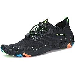 SAGUARO Homme Chaussures Aquatique Femme Chaussons de Plage de d'eau Bain Soulier Séchage Rapide Antidérapant Noir 42