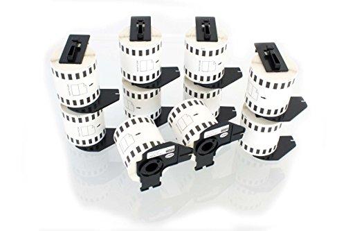 vhbw 10x Rolle Etiketten Aufkleber für Brother P-Touch QL-1050, QL-1050N, QL-1060, QL-1060N, QL-500, QL-500A, QL-500BS wie Brother DK-22212.