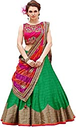 Nirvan Fashion Womens Green Dupion Silk Lehenga-Choli - (roza grean | Free Size)