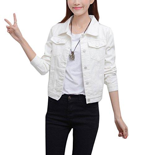 Mode Beiläufig Damen Mantel Jacke Denim Jacket Trench Parka Jacken Einfarbig Lange Ärmel Jeans-Jacke mit Patches (XXL, Weiß) -