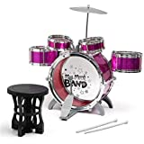S.R.Toys Music Jazz Drum Set Big Size Musical Drum Set With 5 Drums, Cymbal And Chair Musical Toy Pink
