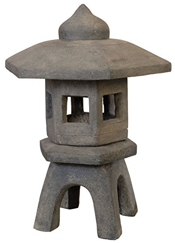 Pagode aus Steinguss 'Lavastein', Steinlampe / Kerzen-Licht, Laterne, Skulptur für Haus und Garten...