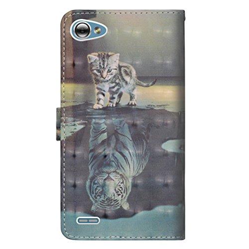 sinogoods Für LG Q6 / LG G6 Mini/LG Q6 Plus Hülle, Premium PU Leder Schutztasche Klappetui Brieftasche Handyhülle, Standfunktion Flip Wallet Case Cover - Katze Tiger