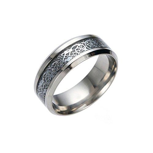 Coole Herren Edelstahl Ringe Silber Dragon Bands für Männer Frauen Hochzeit (Cupcake Muster Kostüme)