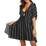 VJGOAL Damen Bikini Bluse, Frauen Elegant Strand Strickjacke Mode Streifen Baden in der Sonne Beachwear Sonnenschutzkleidung Bequem Cool Mantel(Schwarz,One Size)