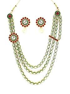 Zaveri Pearls Classic Kundan Three Layered Necklace Set-ZPFK1932