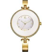 SHENGKE K0073L señoras mujeres relojes de cuarzo analógicos con reloj pulsera de aleación moderna