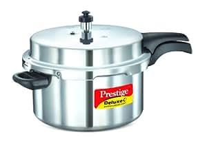 Prestige Deluxe Plus Induction Base Aluminium Pressure Cooker, 7.5 Litres, Silver