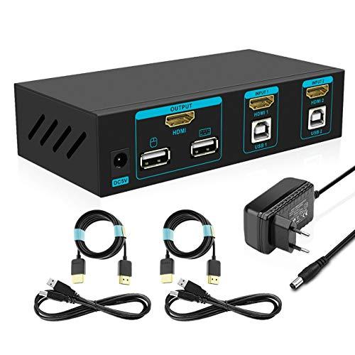 SGEYR 2x1 HDMI KVM Switch 4K 2 Port USB KVM Umschalter HDMI v1.4 2 In 1 Out Metallgehäuse mit Tastatur Maus Schalter|Auto Scan|Kabel Kits|Unterstützung 4K@30Hz UHD 3D 1080P