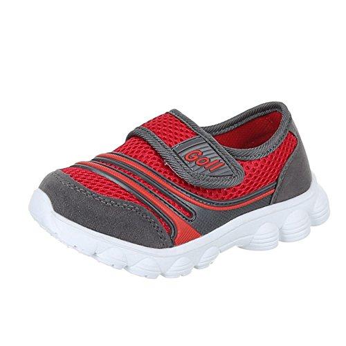 Kinder Schuhe, EL11096, FREIZEITSCHUHE TURNSCHUHE SPORTSCHUHE Grau Rot