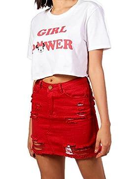 Women 's Basic Ripped Color Solido Mini Skater Skirt