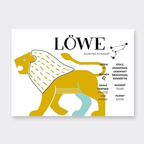 Sternzeichen LÖWE - Infografik Postkarte