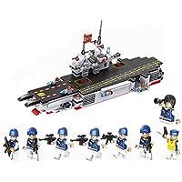 ANGLE Compatible con el Equipo de portaaviones Lego Modelo 8 en 1 Ciudad de policía Militar montado Bloques de construcción Juguete Puzzle montado niño 6 +
