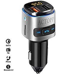 ACTOPP FM Transmitter Bluetooth Auto QC3.0 Schnellladegerät mit 2 USB Ports Farbwechsel Licht drahtloser FM Transmitter KFZ Radio Adapter mit Freisprecheinrichtung iOS und Android Geräte