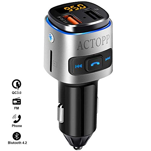 ACTOPP FM Trasmettitore Bluetooth per Auto, Wireless Trasmettitore FM Radio, Adattatori Vivavoce Car Kit, Lettore Mp3 con Caricabatteria da Auto 2 USB, per iOS e Android