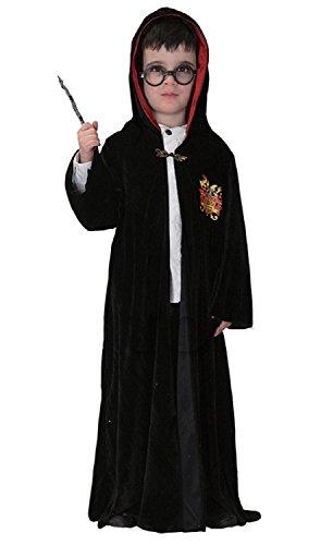 /14 Jahre - Kostüm Verkleidung Karneval und Halloween von Harry Töpfer Herr von dem Ringe komplett von Zubehör Farbe Schwarz männliches Kind (Halloween Harry Potter Kostüm Ideen)