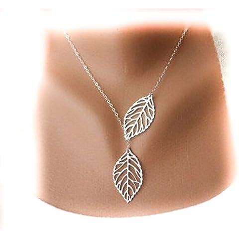 S&E Donne Silver-tono semplice doppio pendente del foglio di metallo Girocollo Collana