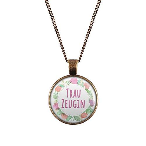 Mylery Halskette mit Motiv Trau-Zeugin Blumen-Kranz bronze 28mm