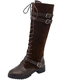 LHWY Damen Stiefel mit Absatz Frauen Schuhe Vintage Flock Roman Reiten Kniehohe Cowboystiefel Stiefel Lange Outdoor Freizeitschuhe Plus Größe 38-43