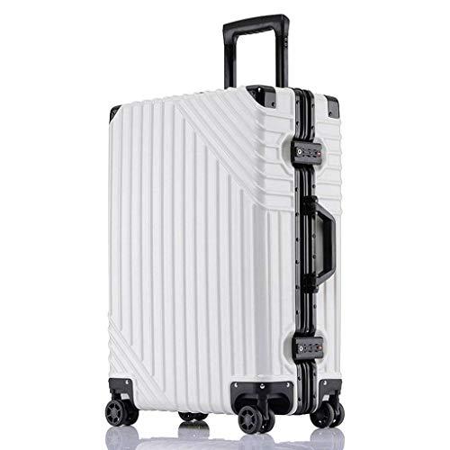 Valigia Valigia bagaglio Set da 3 pezzi di valigetta in ABS rigido di grandi e medie dimensioni e trasporta serratura digitale a 4 ruote Bagaglio a mano bianco da 20 pollici (colore: nero, dimensioni: